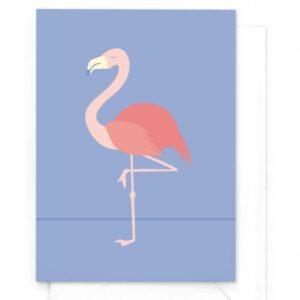 yellow-sky-wenskaart-tropical-birds-flamingo
